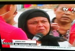 Wawancara Jamaliah di tvOne yang dijepret Lana Bestari.