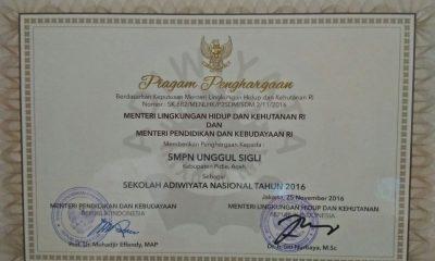 SMP Unggul Sigli Terima Adiwiyata Nasional
