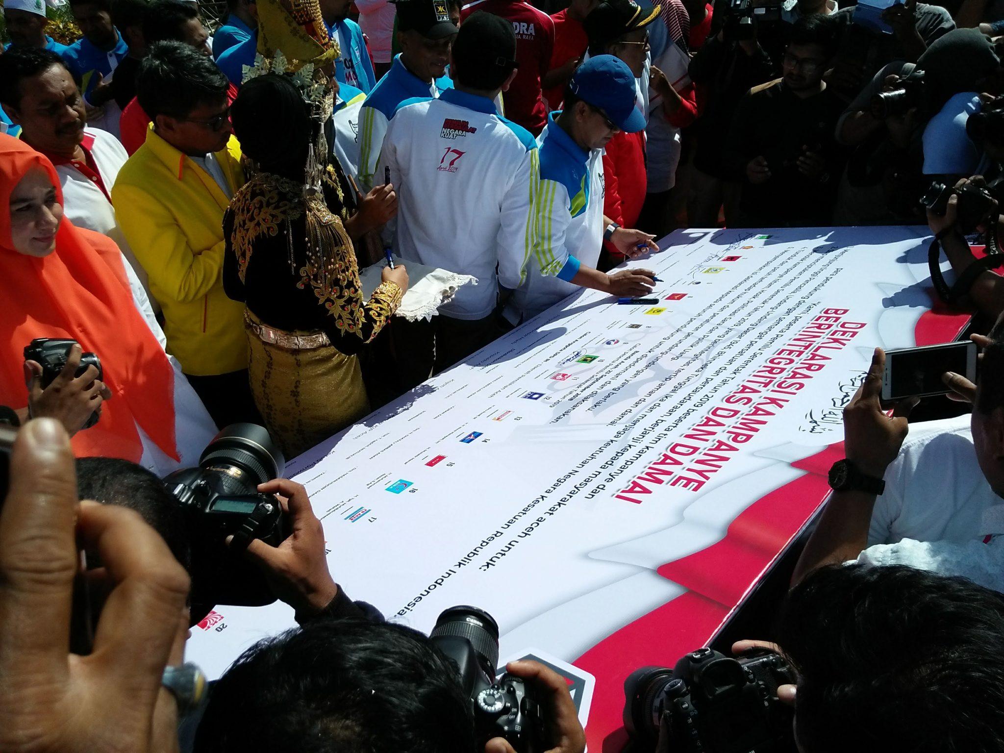 Peserta Pemilu 2019 di Aceh Deklarasi Kampanye Damai