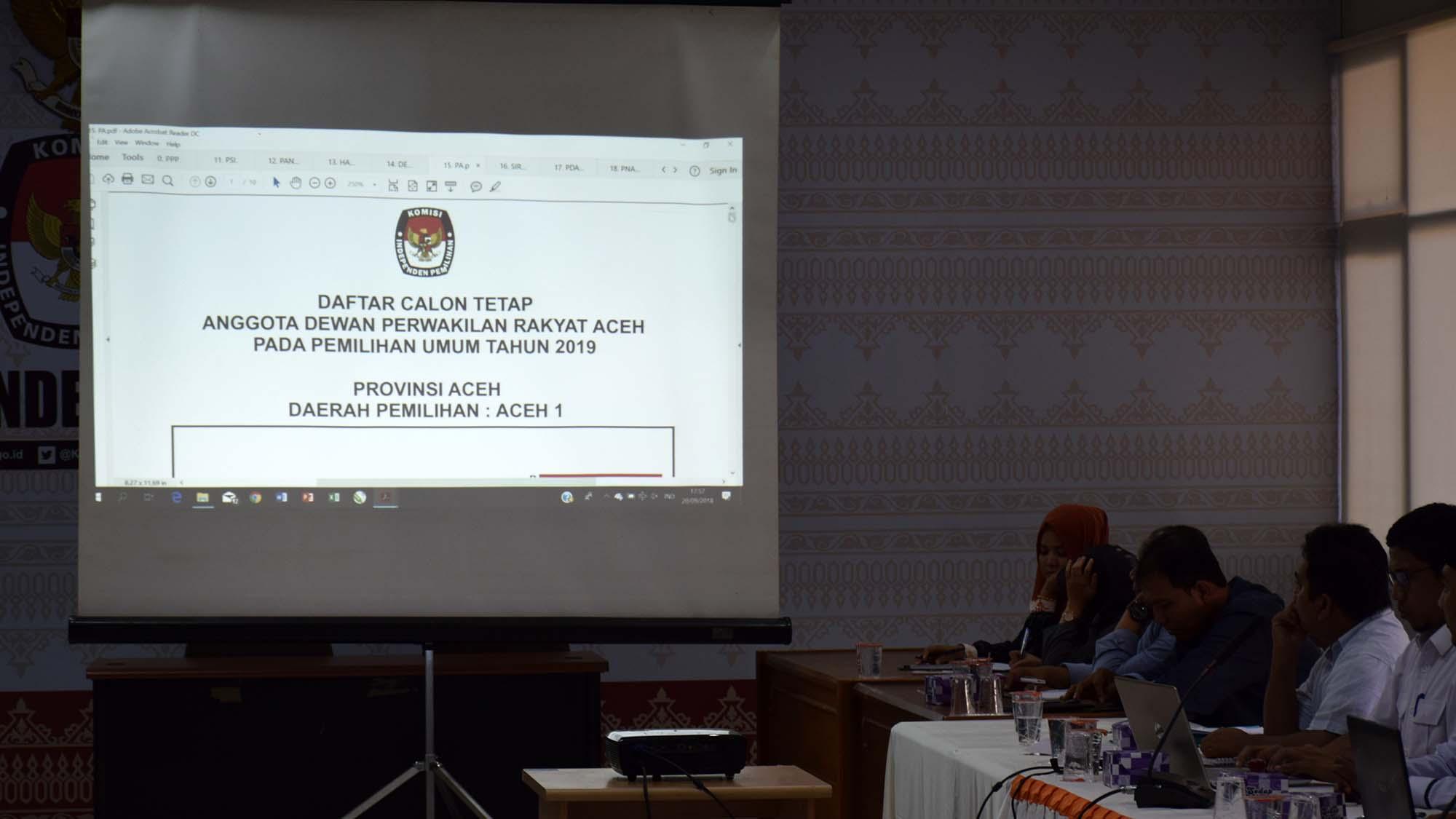 KIP Aceh Umumkan 1.298 DCT Anggota DPRA Pemilu 2019