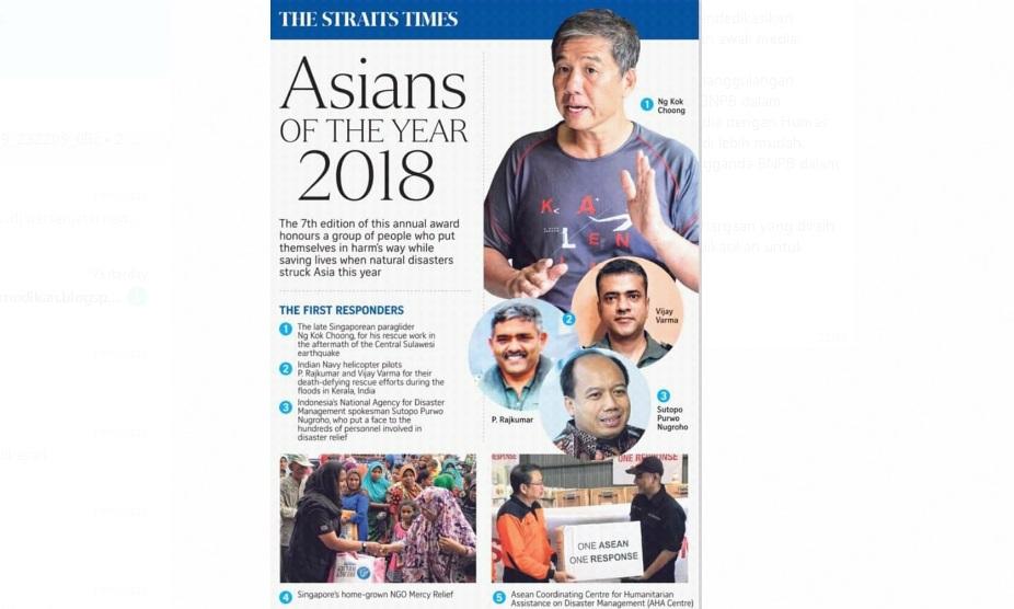 Jubir BNPB Terima Penghargaan The First Responders 2018