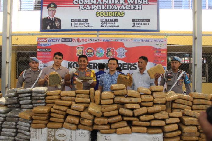Polresta Banda Aceh Gagalkan Pengiriman Satu Ton Ganja ke Jakarta