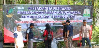 Mulai Besok, 39 Rumah Komunitas Adat Terpencil Dibangun di Sikundo Aceh Barat