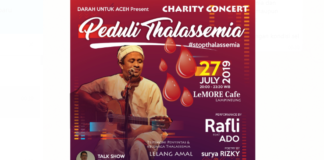 Malam Ini, Rafli Konser Amal Peduli Thalassemia di Banda Aceh